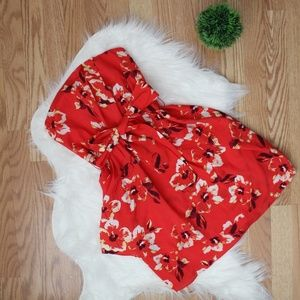 Express Red Floral Strapless Tie Front Dress 2 NWT